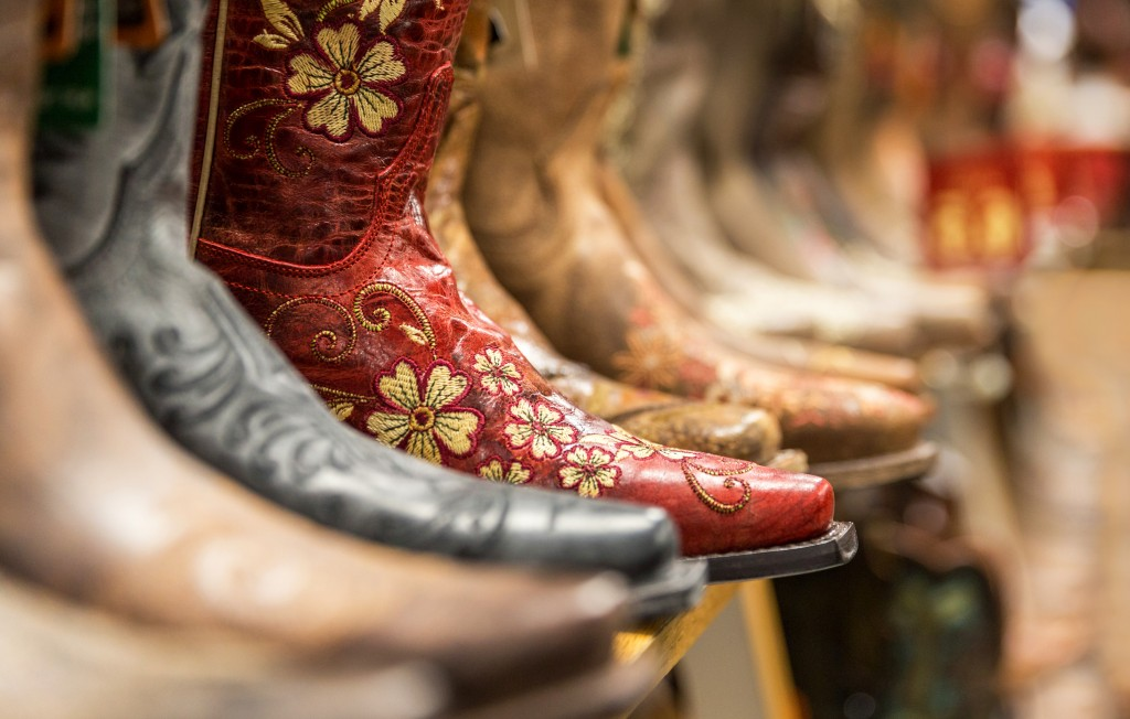 cowboy boots in the store