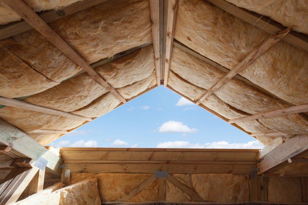 Fiberglass insulation installed in ceiling