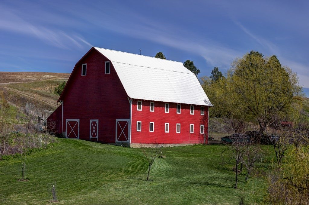 A red barn with white cieling