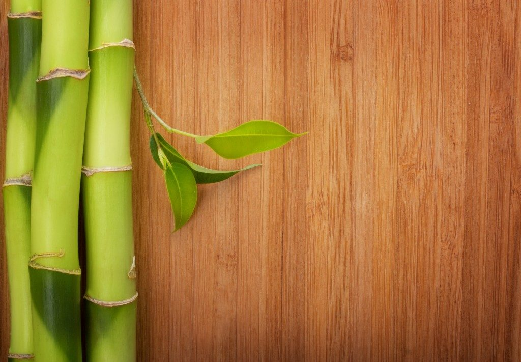 a bamboo on top of a bamboo flooring