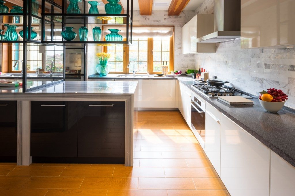 spacious kitchen area in modern interior design
