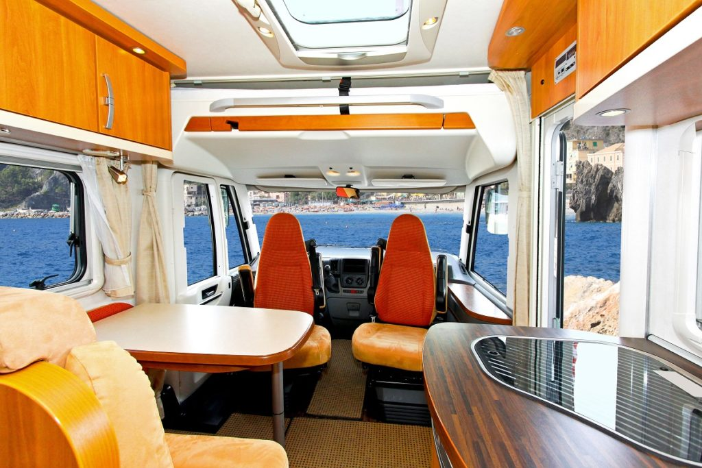 dining are inside a van