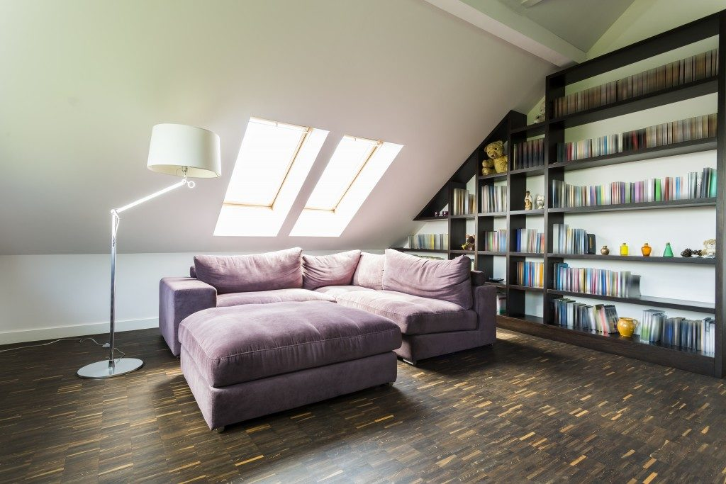 Bedroom attic with bookcase