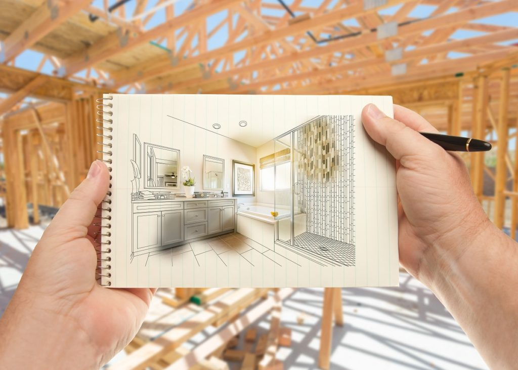 Wood framing with sketch