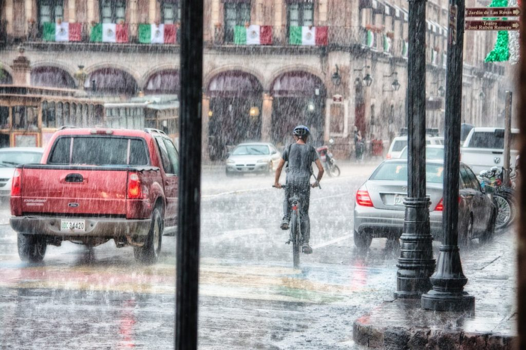 Riding the bike during a rainy day