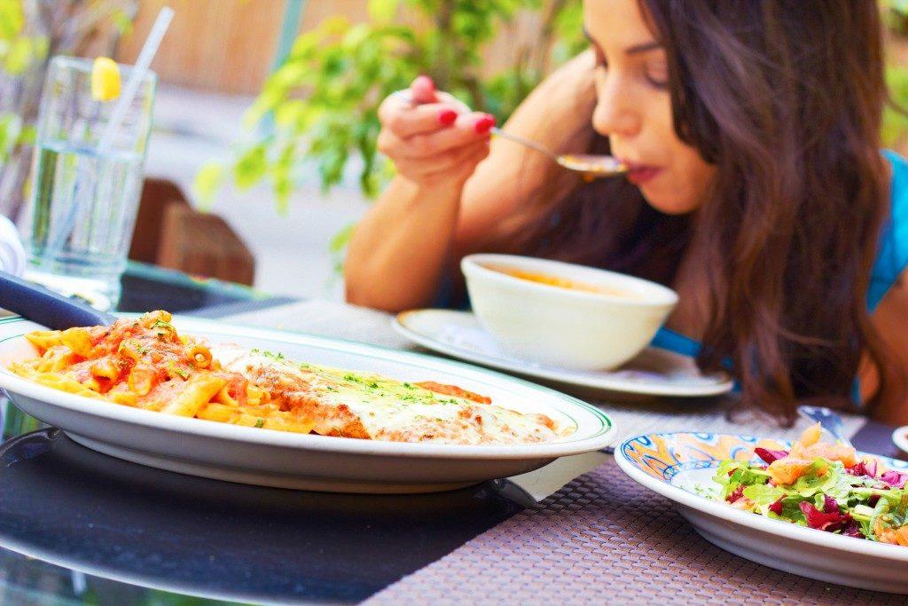 Woman having a soup