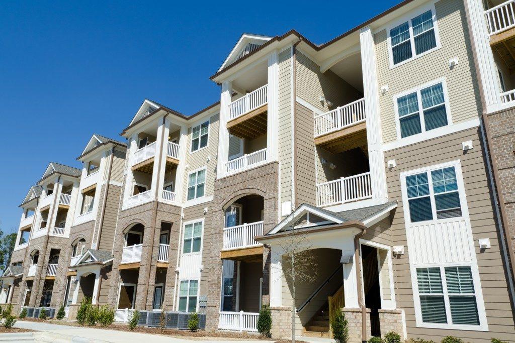 Apartment buildings in suburban area