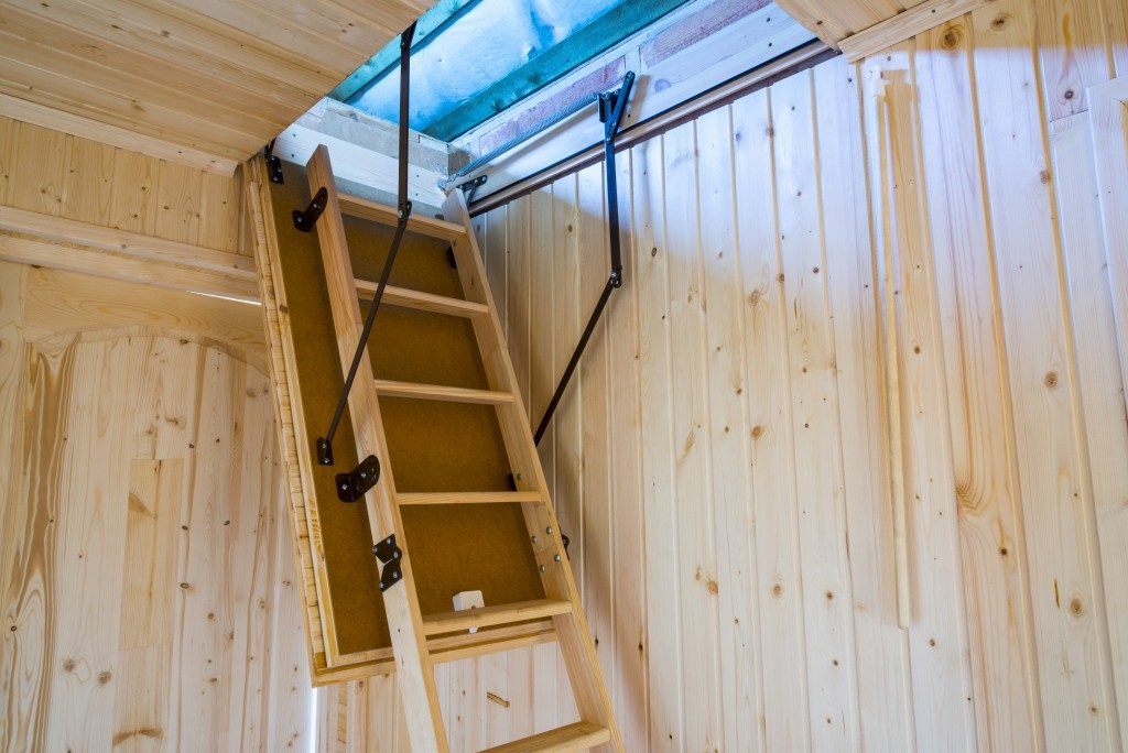 ladder staircase in an attic