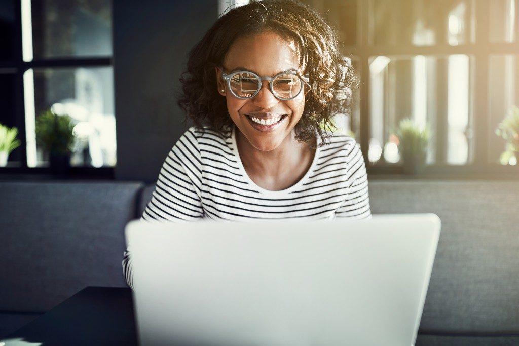 entrepreneur using her laptop