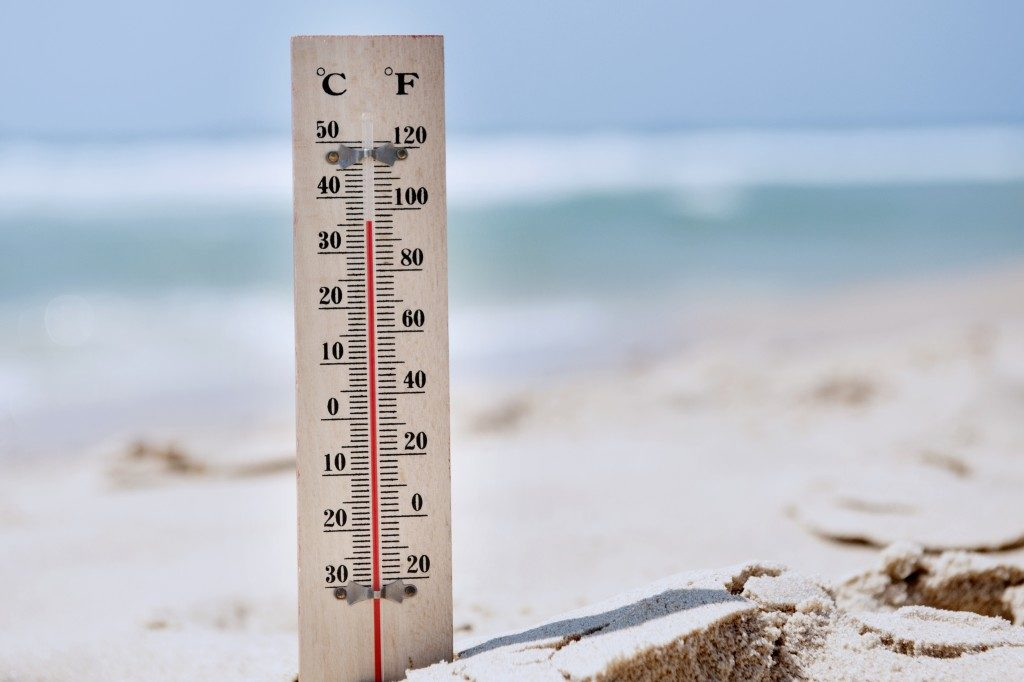 Temperature scale on a beach to signify climate change