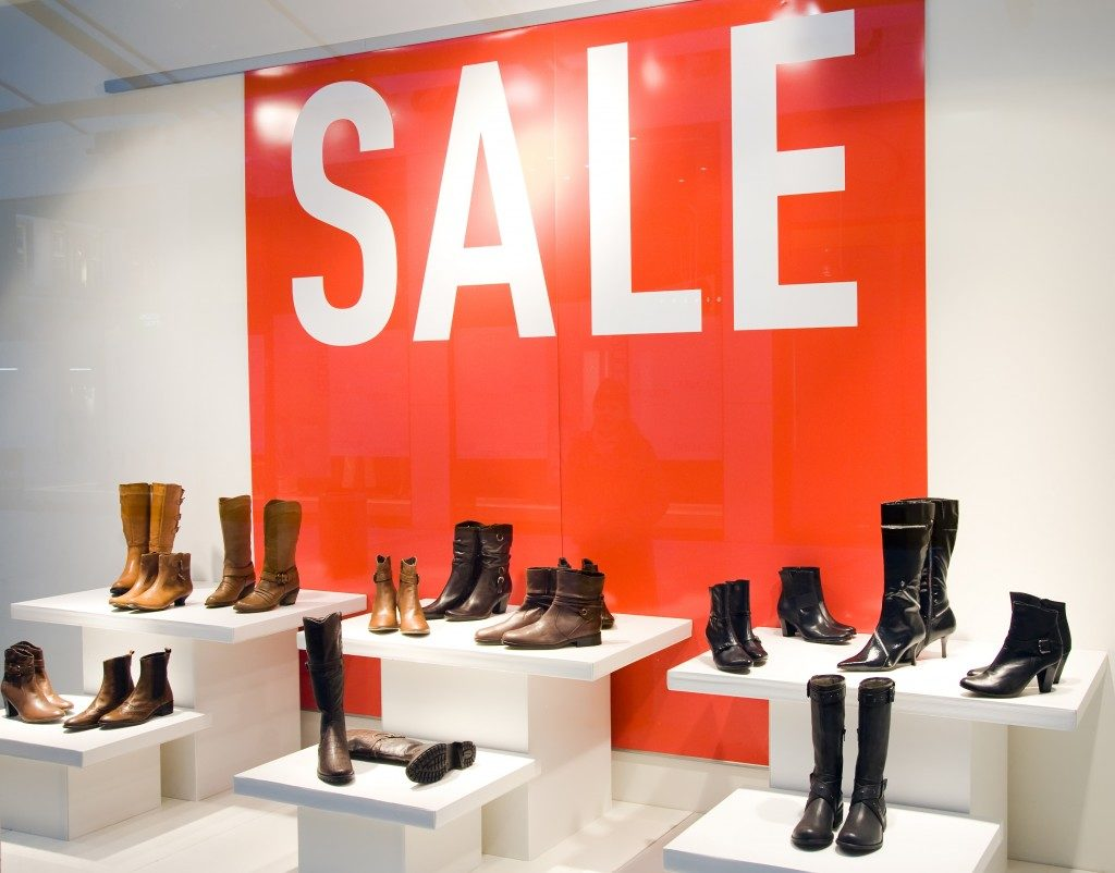 shoes in display for sale